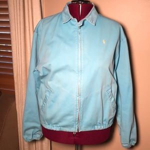 Vintage POLO Ralph Lauren Blue Cotton Bomber Coat